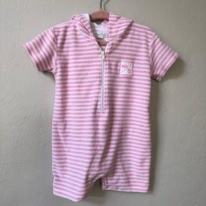 Kissy Kissy pink stripe hooded coverup 12-18mos